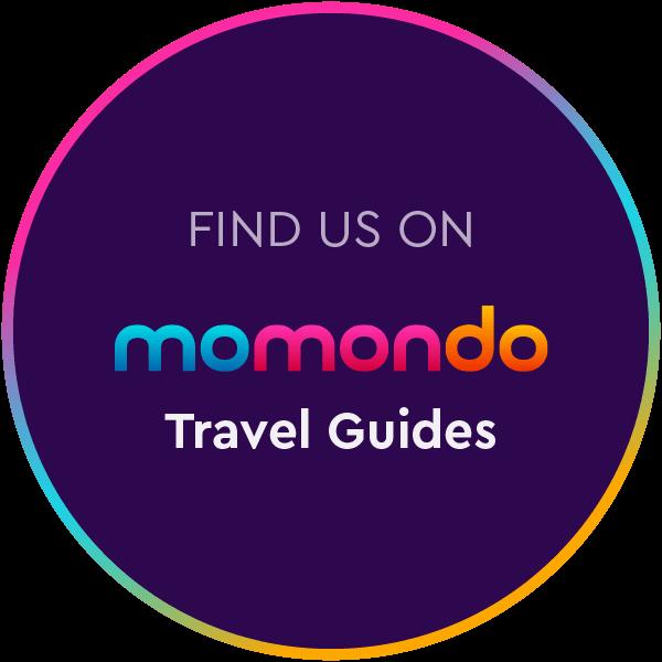 design image momondo travel guides badge circle color find us on mm tg