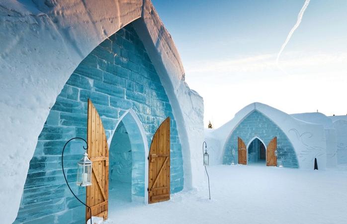 Eis-Camping im Hôtel de Glace in Kanada